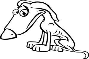 Kokzidiose beim Hund. Schwarzweiß Karikatur des armen traurigen heimatlosen Hundes